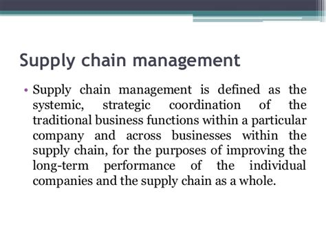 Supply Chain Management Notes For Mba by Retail Management