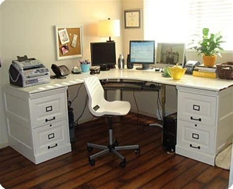 Large Corner Desk With File Cabinets Diy Desk With File Cabinets
