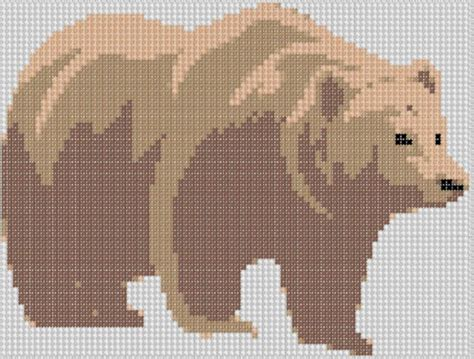 brown indie pattern you have to see grizzly bear cross stitch on craftsy
