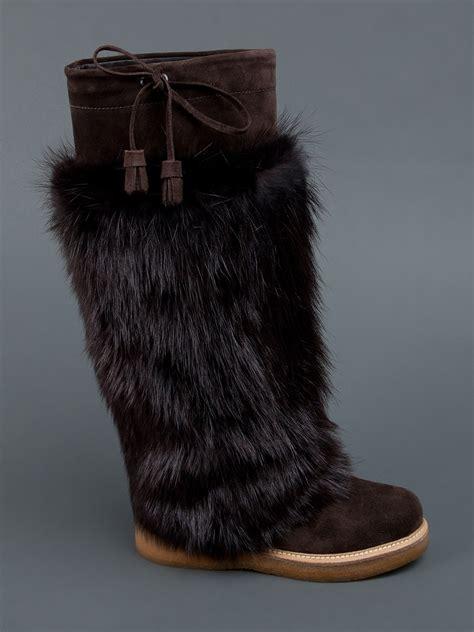 beaver fur slippers moncler beaver fur boot in brown lyst