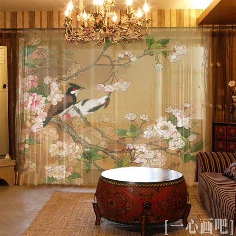 Chinese printing luxury vintage style light shade window curtains customized jacquard curtains
