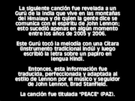 imagenes john lennon letra en ingles peace canci 243 n de john lennon revelada desde el m 225 s all 225