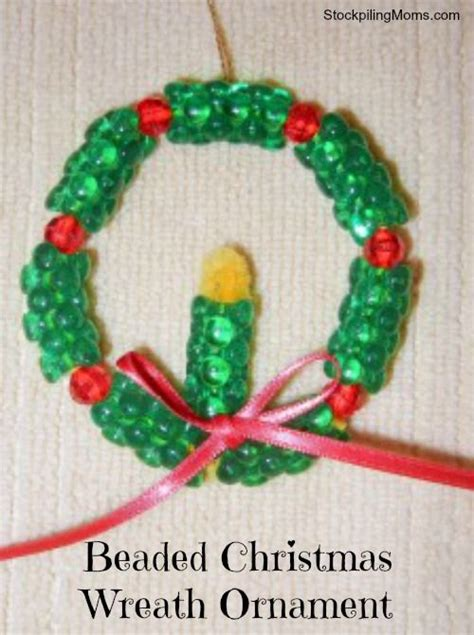 beaded christmas wreath ornament winter pinterest
