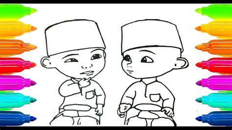 How To Draw Upin Ipin Coloring Book For Kids Learning