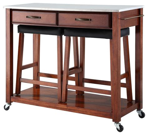 kitchen island cart with stools stainless steel top kitchen cart 24 quot black upholstered