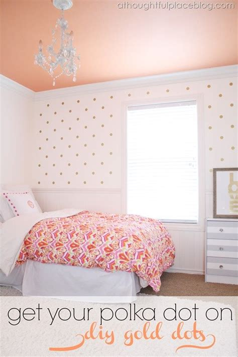 how to paint polka dots on bedroom walls diy gold polka dots using decals a thoughtful place