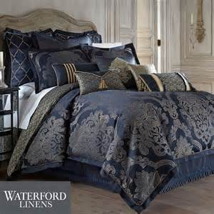 vaughn navy comforter bedding by waterford linens
