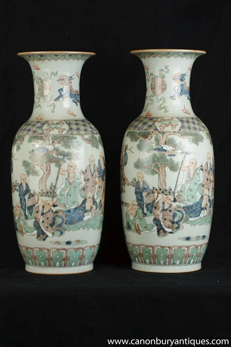 Painted Porcelain Vases by Pair Famille Vert Painted Porcelain Vases