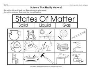 identifying states of matter solid liquid gas worksheet