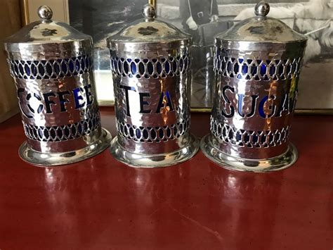 vintage sheffield england hammered silver plated canister