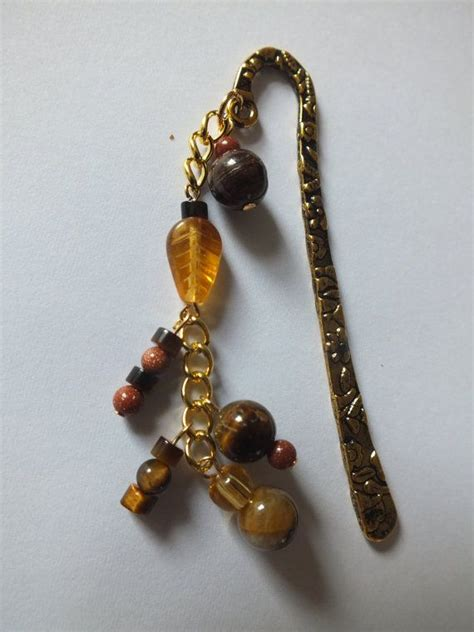 Handmade Beaded Bookmarks - tiger eye beaded bookmark handmade gemstone jewellery