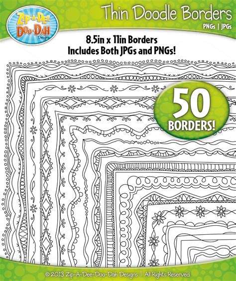 doodle border ideas thin doodle frame borders set 5 graphics on creative market