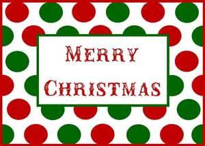 Merry christmas red and green polka dot printable