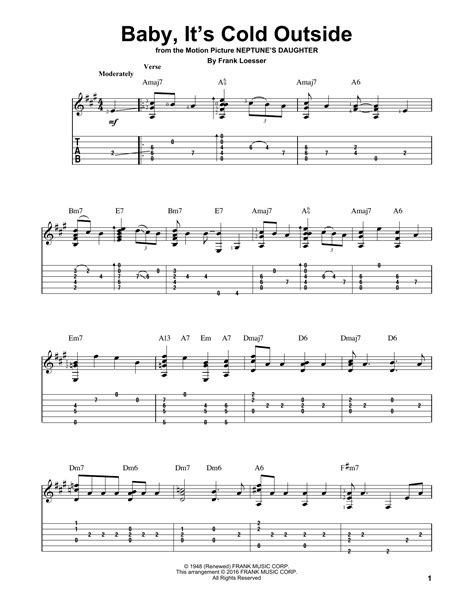 baby it s cold outside printable lyrics baby it s cold outside guitar tab by frank loesser