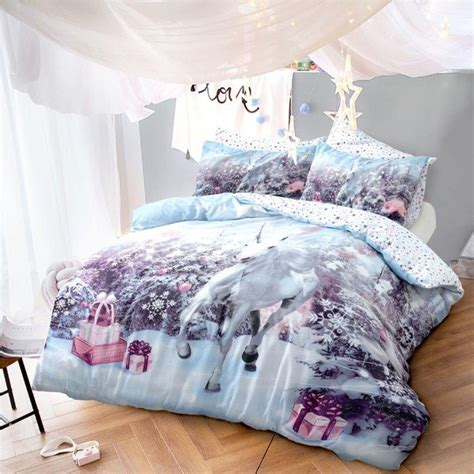kids christmas bedding luxury unicorn christmas kids xmas duvet set bed festive