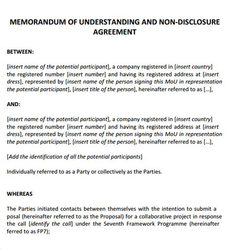 template for memorandum of understanding in business memorandum of agreement 12 free pdf doc