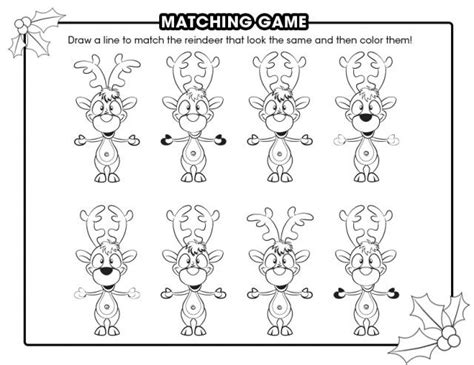 printable reindeer activities reindeer matching game free printable coloring pages
