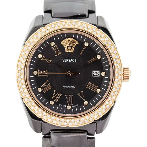 Versace Black Ceramic and Rose Toned Diamond Mens Watch Boca Raton