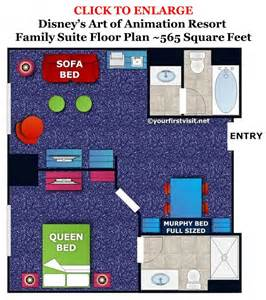 all suite floor plan accommodations in the family suites at disney s art of animation resort