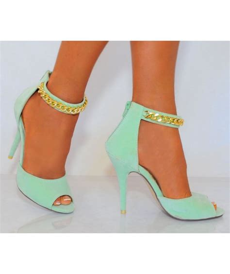 mint green high heel shoes mint green gold chain high heels heelsfans i