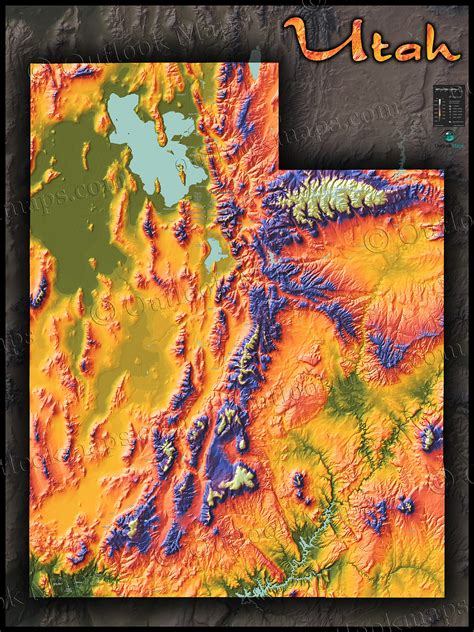 topographical map of utah physical map of utah topography colorful mountains and