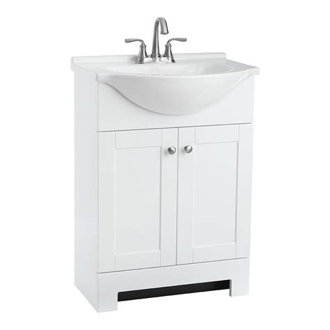 white bathroom sink cabinet shop style selections euro white integrated single sink