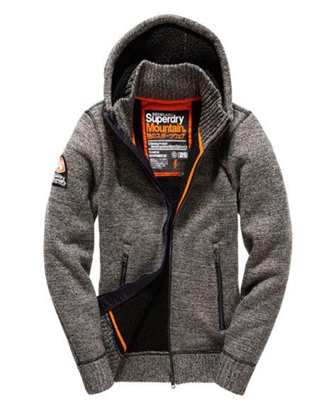Superdry Black Leather List Grey mens expedition zip hoodie in concrete twist superdry