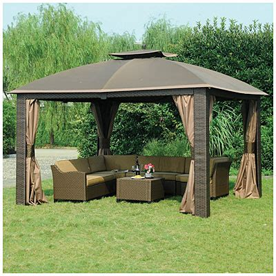 big lots patio gazebos view wilson fisher 174 10 x 12 resin wicker riviera