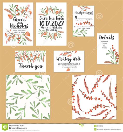Thank You Card Template With Tree by Template Cards Set With Watercolor Autumn Tree Branches