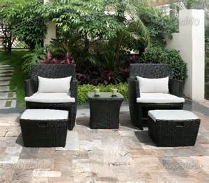 outdoor wicker patio bistro set chairs ottomans