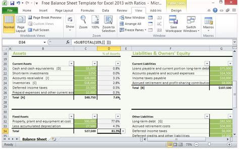 free balance sheet template for excel 2013 with ratios