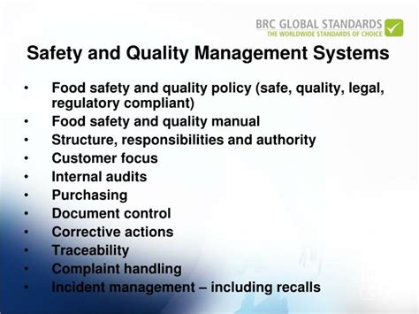 Mba In Food Safety And Quality Management In India by Ppt Brc Global Standard For Food Safety April 2010