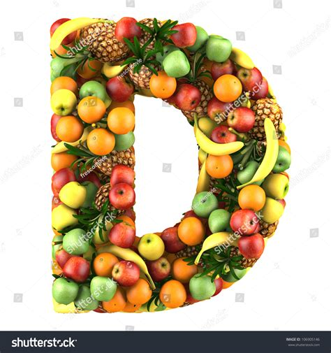 d fruit letter d made fruits isolated on stock illustration