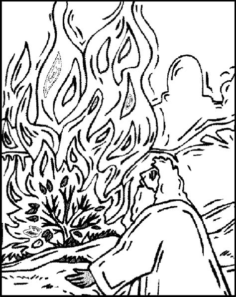 moses burning bush coloring page az coloring pages