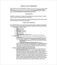 Agreement Of Sale Template For A Vehicle by Sales Agreement 10 Free Documents In Word Pdf