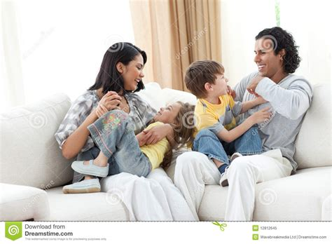 Apartment Living For Families Merry Family In The Living Room Stock Image