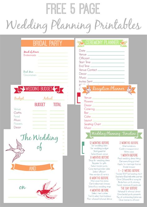 printable wedding planning notebook free 5 page wedding planning printable set bread booze
