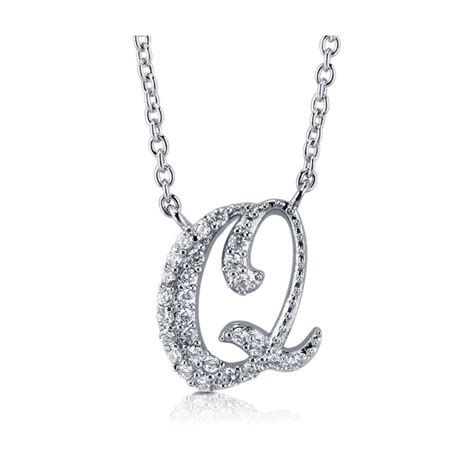 Letter Necklace Silver berricle sterling silver cz initial letter fashion pendant
