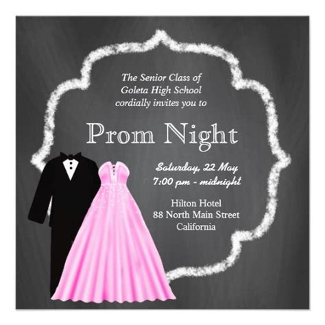 chalkboard prom 5 25x5 25 square paper invitation card