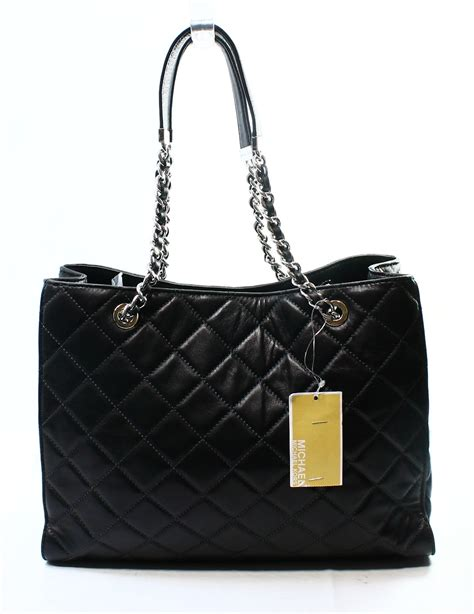 Michael Kors Black Quilted Wallet by Michael Kors New Black Leather Quilted Large Shoulder Tote