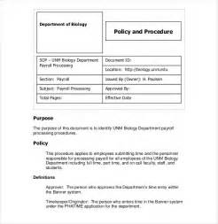 standard of procedure template sop template standard operating procedure template free