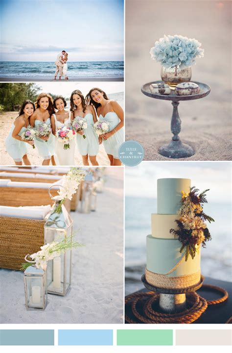 colour themes for beach wedding blue beach wedding ideas tulle chantilly wedding blog