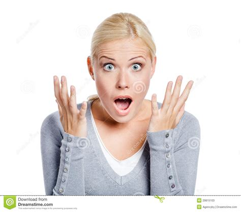 lady with the shocked lady with her mouth opened stock image image