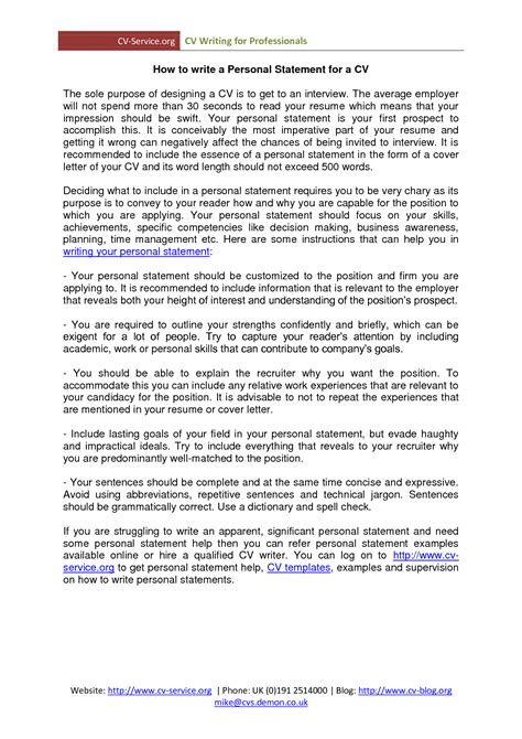 Personal Statement For Resume personal statement resume exles best template collection