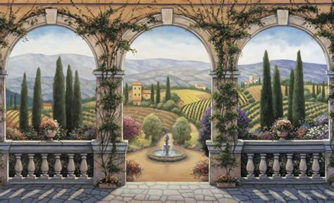 Tuscan Wall Murals Environmental Graphics Tuscan Villa Wall Mural