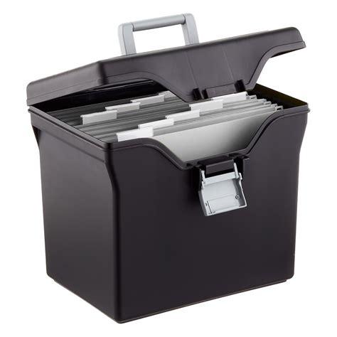 black file iris black letter size portable file box the container store