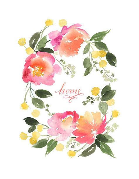 Printable Watercolor Flowers | yao cheng design flower wreath in peach and yellow art