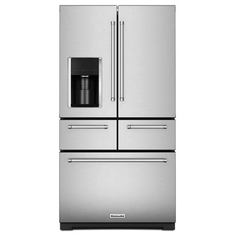 kitchen aid appliances reviews shop kitchenaid 25 8 cu ft 5 door french door refrigerator