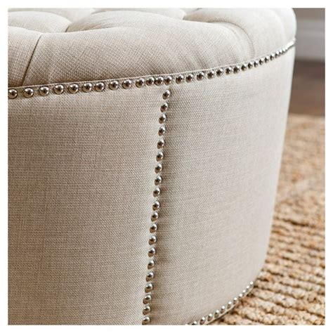 newport fabric nailhead trim round ottoman abbyson living newport leather nailhead trim round ottoman gray