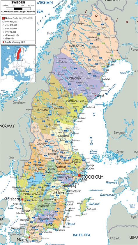 physical map of sweden maps of sweden detailed map of sweden in